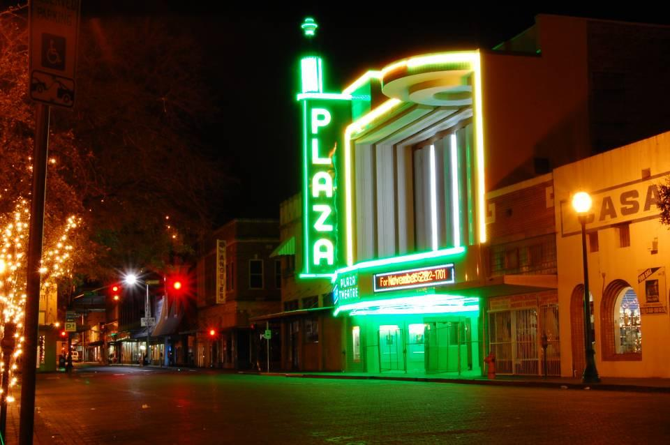 Night Shot of Old Plaza Cinema in Downtown Laredo, Texas.